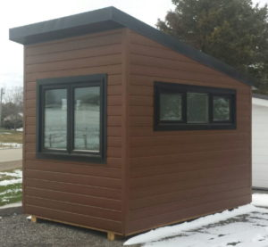 8x12-portable office cabin bunkie lab for sale commercial steel siding-spray foam insulation-pressure treated 6x6 beams on bottom for easy movement-call1-519-741-6317-pic1